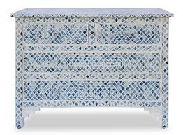 Agean Blue & Bone Inlay Marrakech 4 Drawer Chest