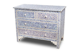 Bone Inlay Marrakech 4 Drawer Chest in  in Denim Blue