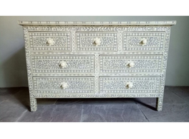 Grey & Bone Inlay Chest with 7 Drawers