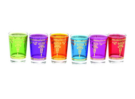 Moroccan Set Of 6 Glasses Assorted  Colours