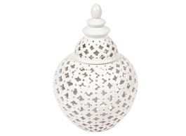 Miccah Temple Jar In White