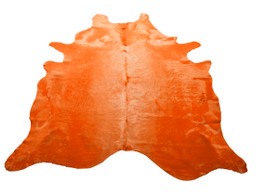 Atomic Orange Cow Hide Rug