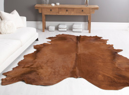 Rust Cow Hide Rug in Large