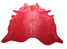 Red Cow Hide Rug in Large