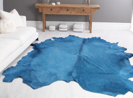 Turquoise Cow Hide Rug in Large