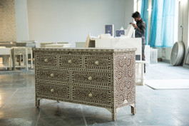 Bone Inlay Chest with 7 Drawers in Cinnamon
