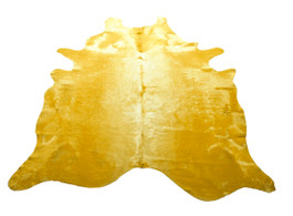 Yellow Cow Hide Rug in Large