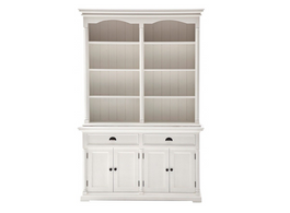 Provence Buffet And Open Hutch Cabinet in White