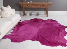 Fuschia Cow Hide Rug in Large