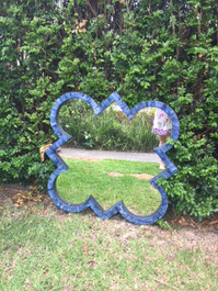 Quatrefoil Bone Mirror in Indigo Blue