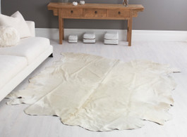 Bianco White Cow Hide Rug in Large
