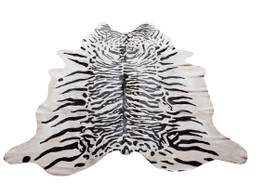 White Tiger Print Cow Hide Rug