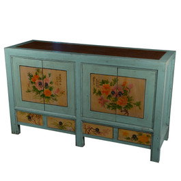 Chinoiserie Fleur Console In Tea Blue