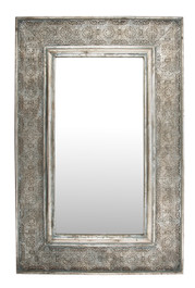 Rectangular Mirror In Antique Metal Cutwork Frame