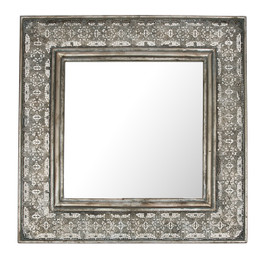 Square Mirror In Antique Metal Cutwork Frame