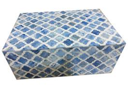 Bone Inlay Box in Denim Marrakech Pattern