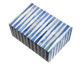 Bone Inlay Box in Blue Wedge Pattern