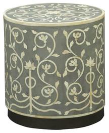 Bone Inlay Fleur Side Table in Grey