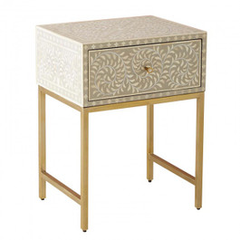 Bone Inlay Bedside Table with Brass Legs