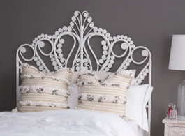 Lyre Single Bedhead In White - Warehouse Sale