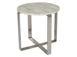 Elle Marble Cross Round Side Table