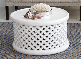 Bamileke Side Table in White