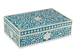 Bone Inlay Box in Sapphire