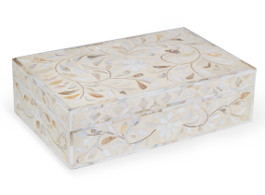 Mother of Pearl Inlay Box in White