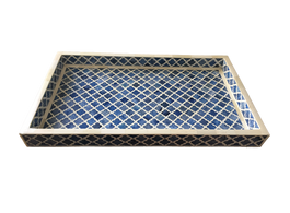 Bone Inlay Marrakech Tray in Indigo