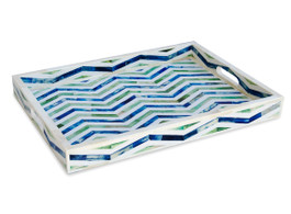 Chevron Bone Inlay Rectangular Tray in Indigo & Green
