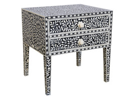 Bone Inlay Bedside Table with 2 Drawers in Black