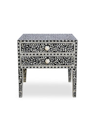 Black & Bone Inlay Bedside Table with 2 Drawers