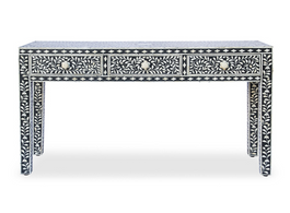 Bone Inlay Console Table in Black