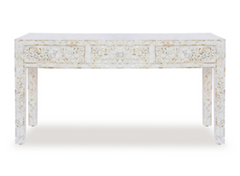 White & Mother Of Pearl Inlay Console Table