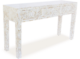 Mother Of Pearl Inlay Console Table in White