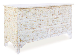 Mother Of Pearl Inlay Chest with 7 Drawers in White