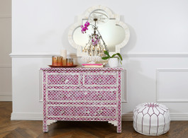 Fuchsia & Bone Inlay Marrakech 4 Drawer Chest