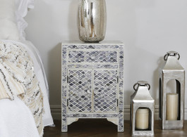 Bone Inlay Marrakech Bedside Cabinet in Grey