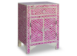 Bone Inlay Marrakech Bedside Cabinet in Fuchsia
