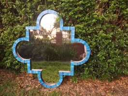 Quatrefoil Bone Mirror in Ocean Blue