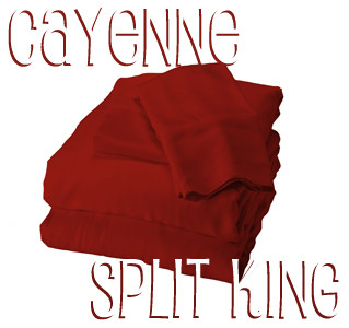 Split King Bamboo Sheet Set in Cayenne