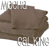California King Bamboo Sheet Set in Mocha Brown