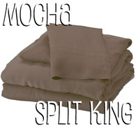 Split King Bamboo Sheet Set in Mocha Brown