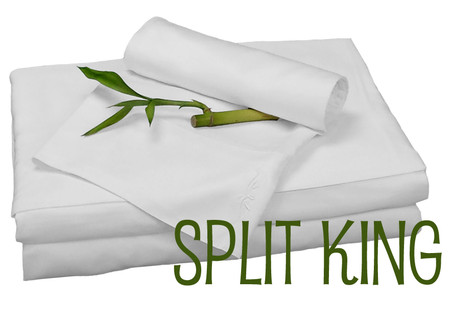 Split King Bamboo Sheet Set in White