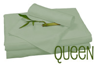 Queen Bamboo Sheet Set in Sage, Eco Friendly Hypoallergenic