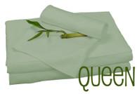 Queen Bamboo Sheet Set in Sage, Eco Friendly Hypoallergenic