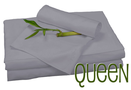 Queen Bamboo Sheet Set in Platinum, Eco Friendly Hypoallergenic