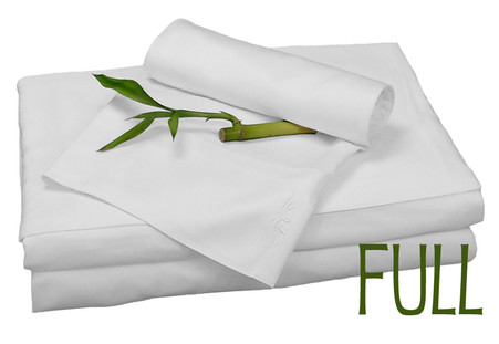Full Bamboo Sheet Set in White, Eco Friendly Hypoallergenic