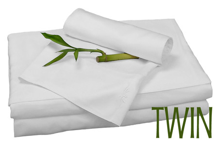 Twin Bamboo Sheet Set in White, Eco Friendly Hypoallergenic