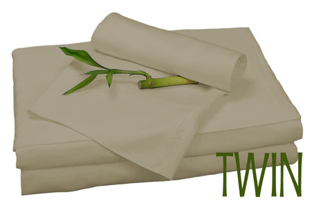 TWIN BAMBOO SHEET SET IN Champagne, ECO FRIENDLY HYPOALLERGENIC